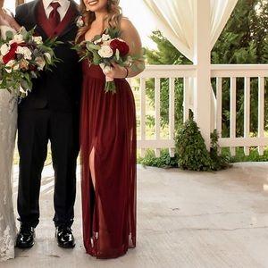 David's bridal wine bridesmaids dress